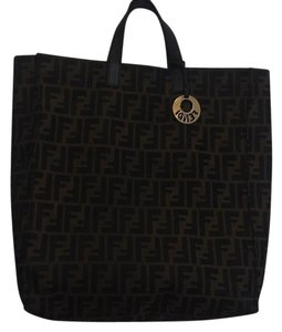 Fendi Keychain Tote in Black and Brown