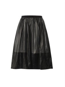 Tibi Leather Pavement Skirt Black