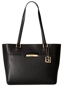 Calvin Klein Pebbled Leather Gold Hardware Tote in black