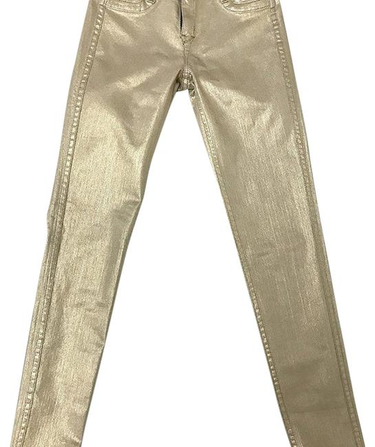 Item - Gold N Gray Distressed Two Tone Reversible Skinny Jeans Size 28 (4, S)