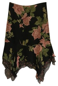 Betsey Johnson Silk Floral Flowy Skirt Black with Pink Rose Print