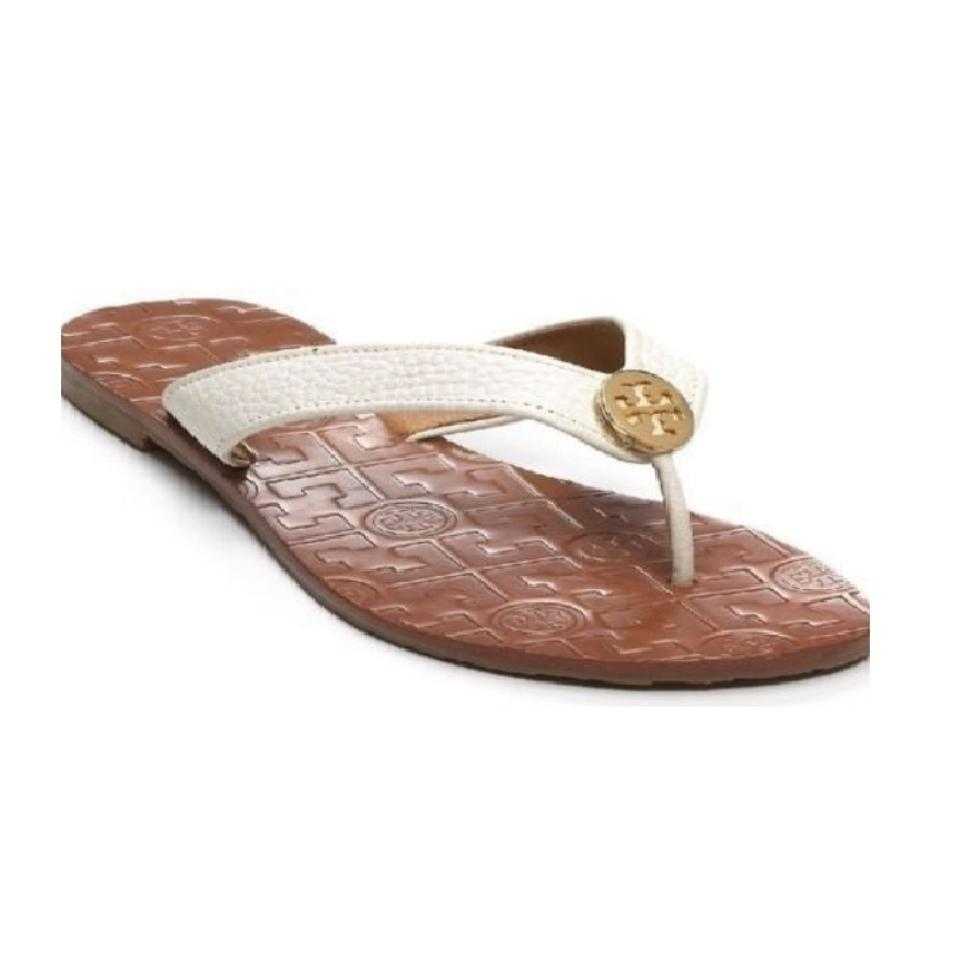 3cd6b28ad01 Tory Burch White Gold Thora Flip Flop Leather Sandals Size US 10 ...