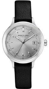 Kenneth Cole 10030827 Women's Black Leather Band With Silver Analog Dial
