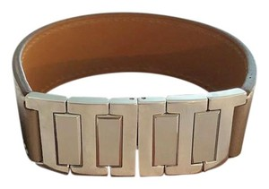Herms Etoupe Leather Palladium 'H' link bracelet