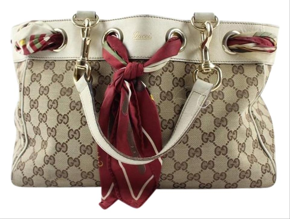 Gucci White Scarf Tote In Reduced Price Brown Monogram