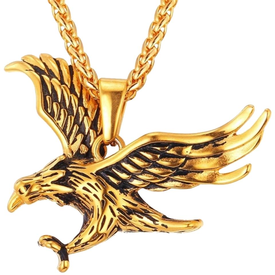 18k gold high polish stainless steel mens quality eagle necklace gentlemanshop mens stainless steel high quality eagle necklace aloadofball Choice Image