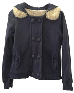 Anthropologie Faux Fur Jacket Hooded Light Weight Coat