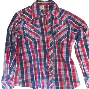 True Religion Button Down Shirt red white blue