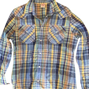 True Religion Button Down Shirt blue navy yellow orange
