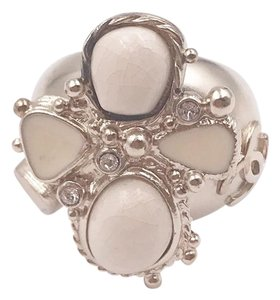 Chanel Chanel Gold Plated Ivory Enamel Stone Cross Ring