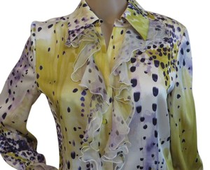 St. John Silk Chiffon On Cuffs Chiffon Ruffles Button Down Shirt Multi-color