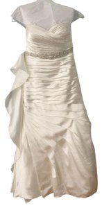 Justin Alexander Ivory Charmeuse Sincerity - Ruched Mermaid 3666 Modern Wedding Dress Size 6 (S)