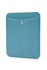 Chanel Chanel Turquoise Calfskin Camellia Embossed iPad Cover