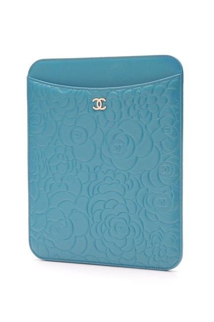 Item - Turquoise Calfskin Camellia Embossed Ipad Cover Tech Accessory