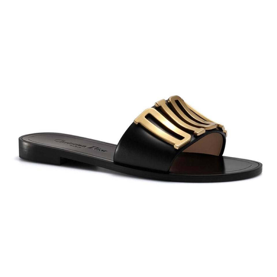 da13ad3c9b8c6 Dior Black New Limited Evolution Slide Calfskin Leather Gold 39 Sandals