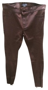 Vince Leather Leather Jeans Washed Leather Burgundy Leggings