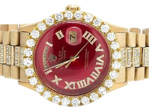Rolex 18K Yellow Gold President Day-Date 36MM Red Dial Diamond Watch 10 Ct