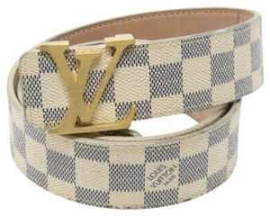 Louis Vuitton Signature Gold Buckle Men's Damier Azur Canvas LV Initials Belt