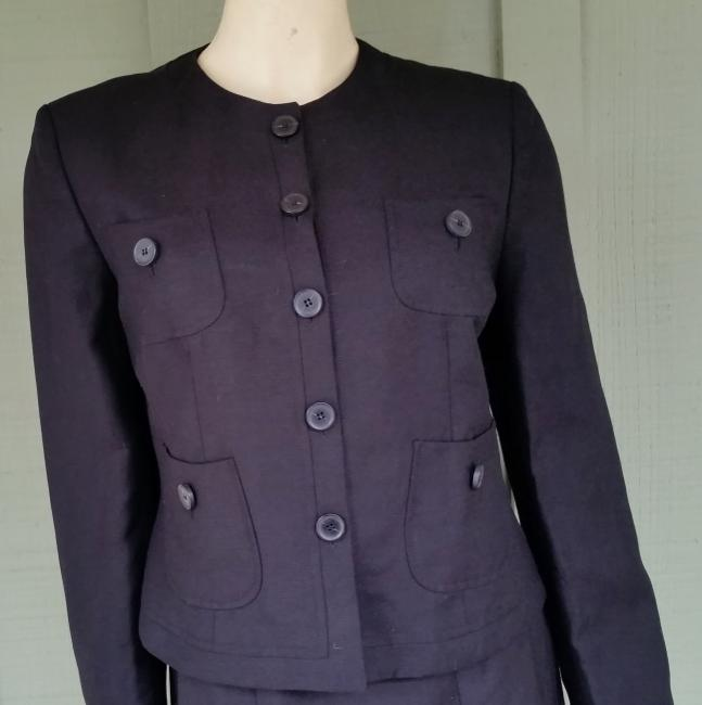Le Suit LE SUIT Black Linen Blend Career Skirt Suit 8 New