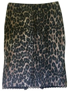 Tracy Reese Pencil Lace Trim Skirt Leopart Print