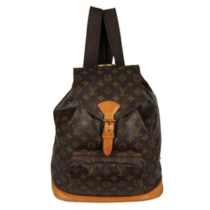 Louis Vuitton Montouris Leather Gold Hardware Vintage Backpack