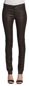 Vince Leather Leather Jeans Washed Leather Brown Leggings