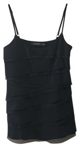 MM Couture Silk Ruffle Camisole Flowy Top Black & Silver