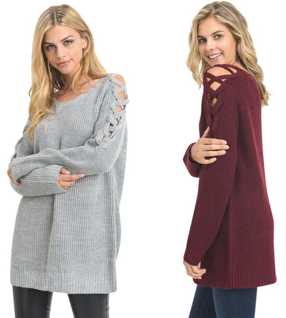 Item - Wine Criss Cross Lace Up Shoulder Tunic Sweater New Fall Fave Trend Coat Size 12 (L)
