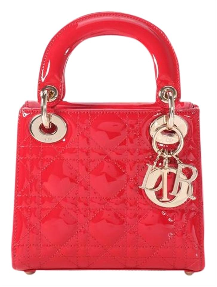 acce1c9d759 Dior Lady **sold On Afc** Mini Quilted Red Patent Leather Cross Body ...