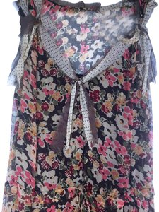 Brown flora Maxi Dress by Rebecca Taylor Floral Summer Sleeveless Vintage Silk