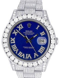 Rolex Datejust II Full Iced 41MM 116300 Blue Dial Diamond Watch 21.5 Ct