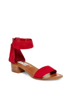 Steve Madden Suede Chunky Block Heel Stacked Heel Boho red Sandals