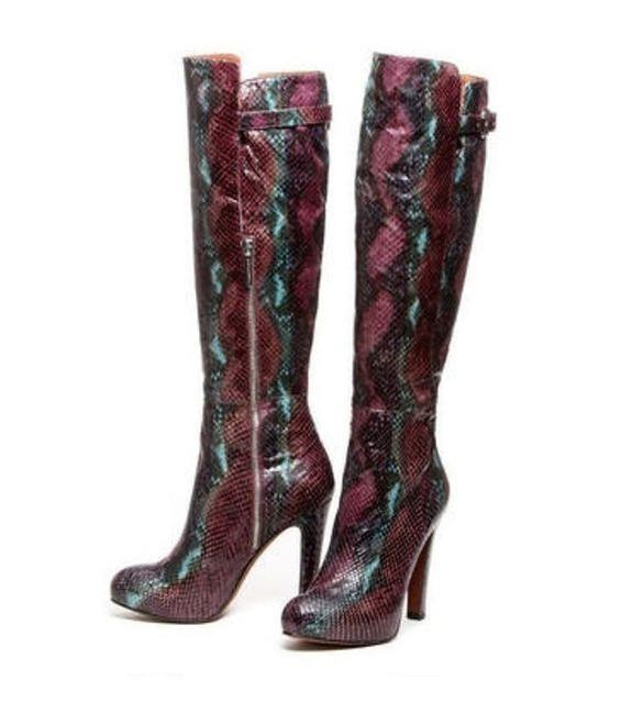 Item - Purple Dion Snake Embossed Boots/Booties Size US 8 Regular (M, B)