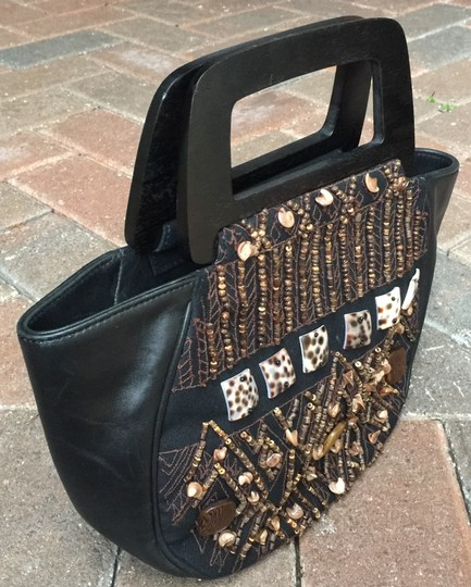 Natori Embroidered Leather Wooden Handles Beading Satchel in Black