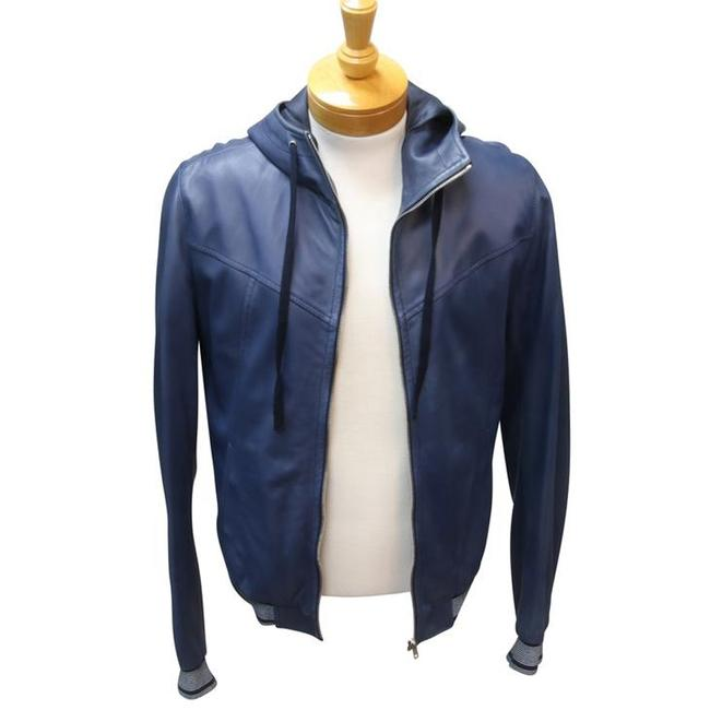 Dolce&Gabbana Fitted Lambskin Balmain Chanel Blue Leather Jacket