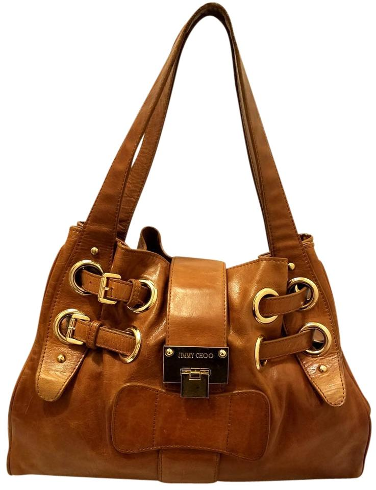 Jimmy Choo Ramona - Extra-large Handbag Cognac Brown Leather Hobo ... 19eeca3408650