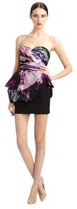 Marchesa Notte Black Floral Silk Party Runway Dress