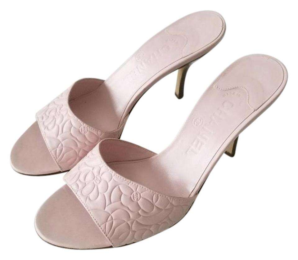 Chanel pink flower embossed sandals mulesslides size eu 375 chanel leather sandal floral slingback pink mules mightylinksfo