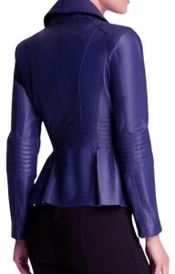 Bebe Peplum Leather Blazer blue with sliver zipper Blazer