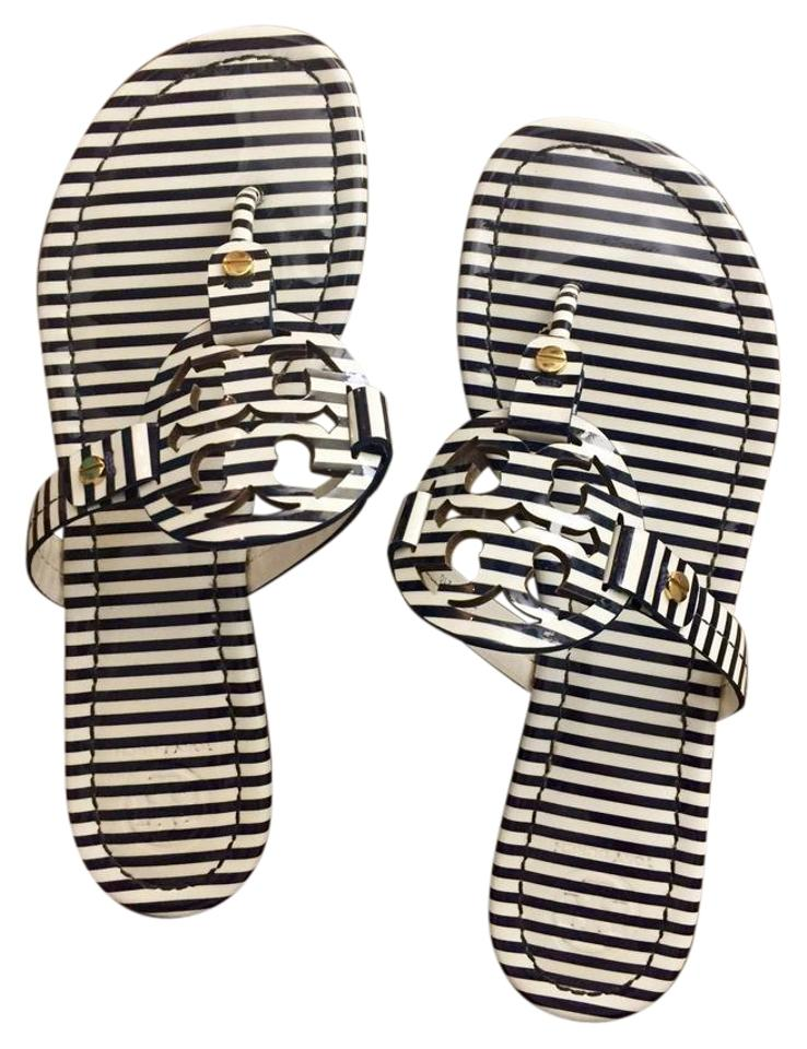 Tory Burch Stripes Navy & White Nautical Stripes Burch Miller Patent Leather Sandals 03bac8