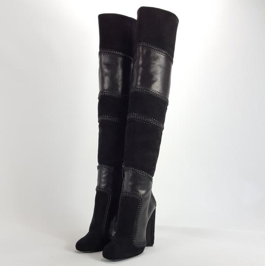 Tom Ford Patchwork Leather Lace Up Black Boots