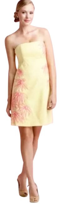 Item - Yellow Bowen Strapless Embroidered Hotty Pink Floral No Fauna Panel Short Cocktail Dress Size 0 (XS)