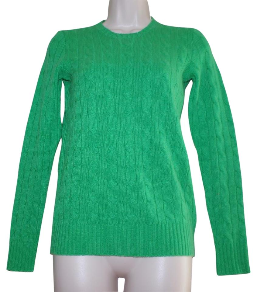 ee1eaf7cb Polo Ralph Lauren Cashmere Cable Knit Women Crew Neck Green Sweater ...