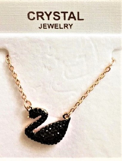 Bulage Black Crystal Swan Rose Gold-Plated Pendant Necklace