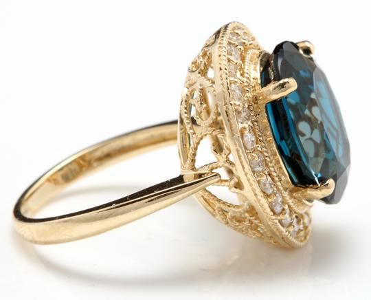 Other 10.75 Carats Natural London Blue Topaz & Diamond 14K Yellow Gold Ring
