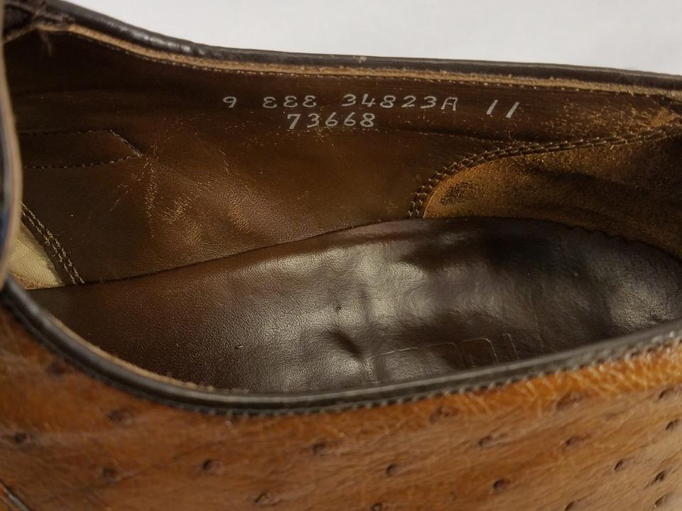 6d8bc14e866 FootJoy Brown Men s Eee Exotic Ostrich Loafers Slip Ons Vintage ...