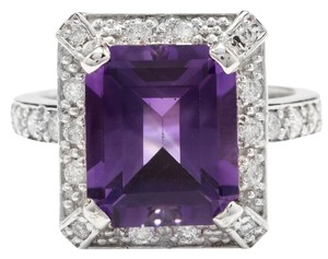 Other 6.05 Carats Natural Amethyst and Diamond 14K White Gold Ring