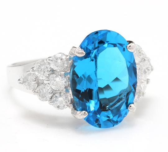 Other 7.40 Carats Natural Swiss Blue Topaz & Diamond 14K White Gold Ring