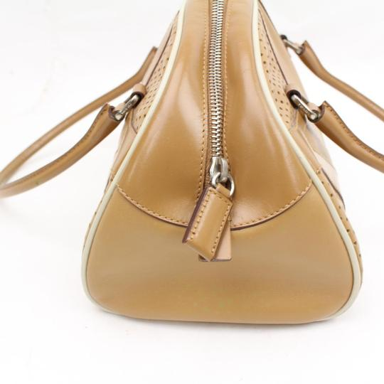 Prada Popular Style High-end Bohemian Mint Vintage Bowling Style Great For Everyday Satchel in camel leather with ivory leather piping