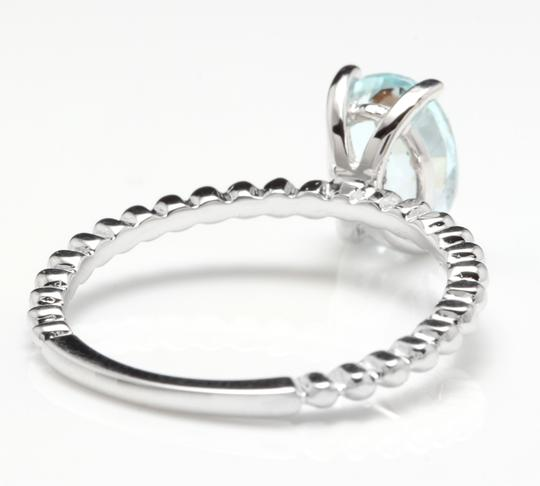 Other 1.00 Carats Natural Aquamarine 14K Solid White Gold Ring